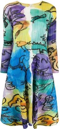 Pleats Please Issey Miyake paint effect pleated dress
