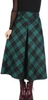 Femirah Women's Fall Winter Plaid Pleated Skirt Long Woolen Skirt