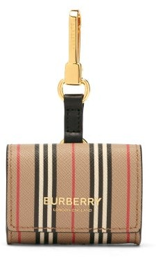 Burberry Icon Stripe Leather Earphone Case - Beige Multi