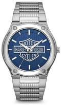 Harley-Davidson Men's Blue Patterned Bar & Shield Stainless Steel Watch 76A159