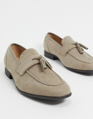 ASOS DESIGN loafers in grey suedette with natural sole