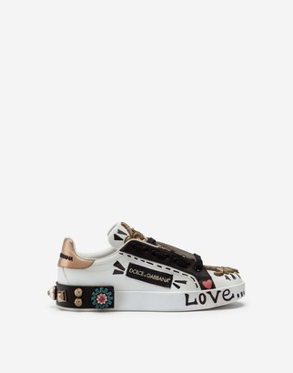 Dolce & Gabbana Printed Nappa Calfskin Portofino Sneakers With Embroidery