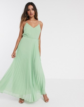 Asos DESIGN pleated cami maxi dress with drawstring waist in sage green