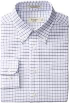 Haggar Men's Check Fancy Pinpoint Oxford Long Sleeve Regular Fit Shirt
