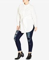 City Chic Trendy Plus Size Tie-Front Shirt