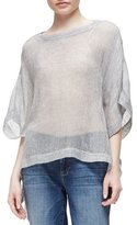 Eileen Fisher Woven Short-Sleeve Poncho Top, Pewter, Plus Size