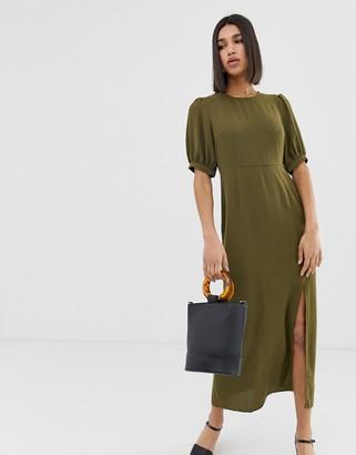 Vero Moda volume sleeve maxi dress with split