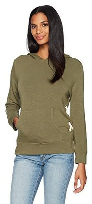 Monrow Women's Pull Over Hoody with Side Lace up