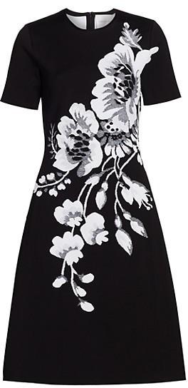 Carolina Herrera Floral Jacquard Short Sleeve Dress