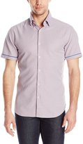 Stone Rose Men's Micro Plus Texture Short Sleeve Button Down Shirt