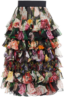 Dolce & Gabbana Paneled Tiered Floral-print Silk-voile And Organza Skirt