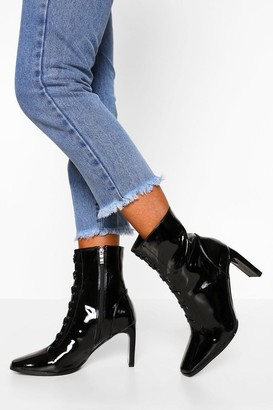 boohoo Lace Front Low Heel Shoe Boot