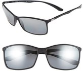 Ray-Ban Men's 'Tech Liteforce' 62Mm Polarized Sunglasses - Matte Black/ Grey Mirror P