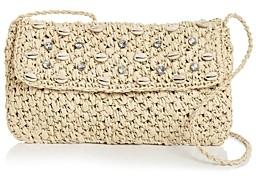Aqua Embellished Woven Crossbody Clutch - 100% Exclusive