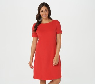 Denim & Co. Petite Essentials Jersey Bateau Neck Dress