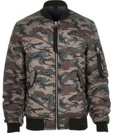 River Island MensGreen camo print quilted jacket