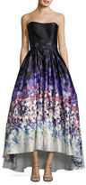 Betsy & Adam Watercolor Print Strapless Ball Gown