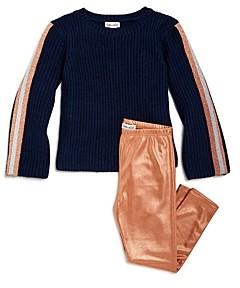 Splendid Girls' Ribbed Sweater & Glitter Leggings Set - Little Kid