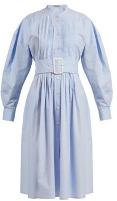 Bottega Veneta Belted Cotton-poplin Shirtdress - Womens - Light Blue