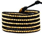 Chan Luu Gold Wrap Bracelet on Black Leather