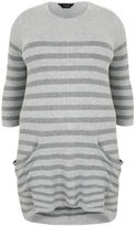 Yours Clothing YoursClothing Plus Size Womens Stripe Knitted Tunic Drape Pockets Ladies