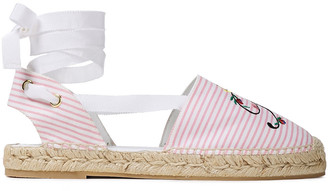 Roger Vivier Embroidered Striped Canvas Espadrilles