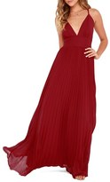 LuLu*s Women's Plunging V-Neck Pleat Georgette Gown