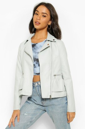 boohoo Peplum Frill Detail Faux Leather Biker Jacket