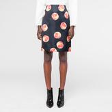 Paul Smith Women's Navy 'Peach' Print Satin A-Line Skirt