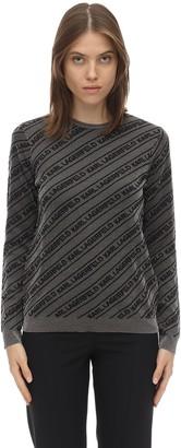 Karl Lagerfeld Paris Logo Lurex Intarsia Mohair Blend Sweater