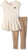 Juicy Couture Girls' Lurex Ribbed Interlock Top and Printed Stretch Jersey Pants