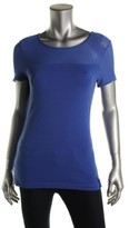 Lauren Ralph Lauren L-RL Lauren Active Womens Mesh Yoke Short Sleeve Pullover Top