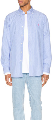 Polo Ralph Lauren Natural Poplin Button Down Shirt in 4351A Light Blue & White | FWRD