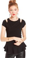Marilyn Monroe Juniors' Cutout Peplum Top