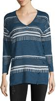 August Silk Women's Multi-Stripe V-neck Sweater