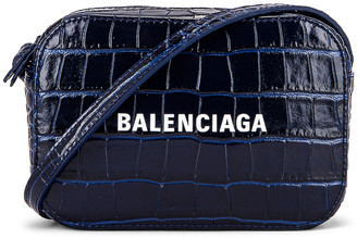 Balenciaga XS Embossed Croc Everyday Camera Bag in Navy | FWRD
