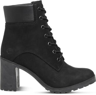 Timberland Ladies Black EmBootsssed Glamour Allington 6 Leather Heeled Ankle Boots