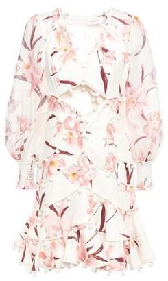 Zimmermann Corsage Bauble Pompom-embellished Linen Mini Dress