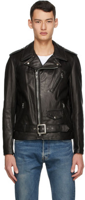 Schott Black Leather Biker Jacket