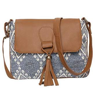 STUDIO 99 Women Crossbody Sling Flap Over Bag-Boho Jacquard Canvas and Vegan PU Leather with Magnetic Snap Closure and Decorative Tassels for Ladies