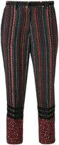 No.21 floral stripe cropped trousers - women - Silk - 42