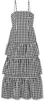 J.Crew Dabble Tiered Gingham Cotton-poplin Midi Dress - Black