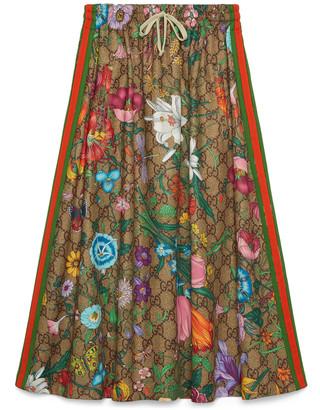 Gucci GG Flora print jersey skirt