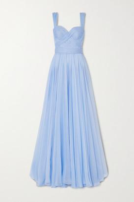 RALPH & RUSSO Pleated Draped Silk-chiffon Gown - Sky blue