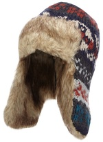 Mantaray Blue Chunky Knit Trapper Hat