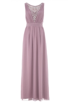 Quiz Mauve Chiffon Diamante Embelished V Neck Maxi Dress