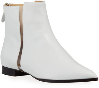 Alexandre Birman Dora Leather Booties with Transparent Striping, White