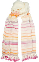 Janavi Tasseled Striped Merino Wool Scarf - Cream