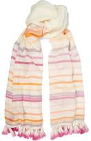 Janavi Tasseled Striped Merino Wool Scarf - one size