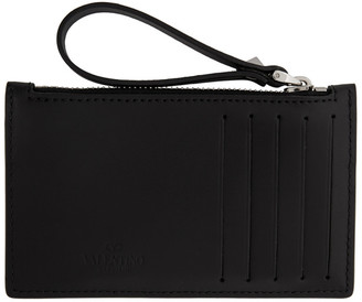 Valentino Black Garavani VLTN Zip Card Holder